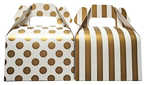 [Gold Polka Dot and Stripe Treat Boxes with Gift Tags Included] (Cool Homemade Decorations For Halloween)
