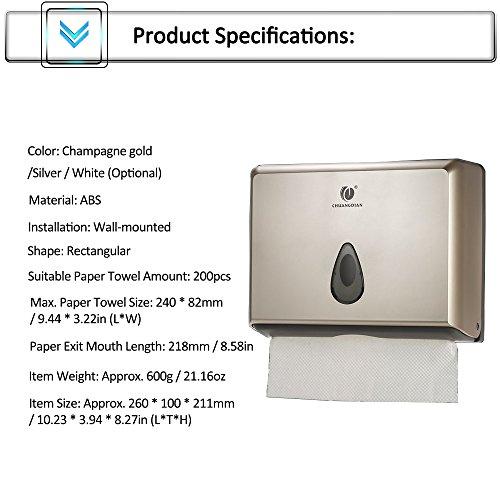 BBX Lephsnt CHUANGDIAN Wall-Mounted Bathroom Paper Towel Dispenser (Champagne Gold) by BBX Lephsnt (Image #5)