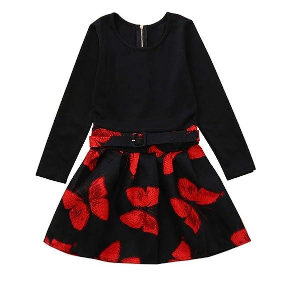 K-youth Vestido para Niñas, Vestidos Niña Otoño Invierno Mariposa de impresión Vestido Bebe
