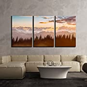 wall26 3 Piece Canvas Wall Art - Mountain Forest and Clouds at Sunset - Modern Home Decor Stretched and Framed Ready to Hang - 16 x24 x3 Panels
