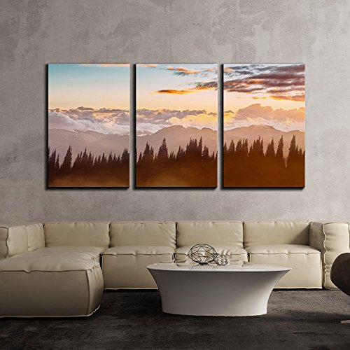 Mountain Forest and Clouds at Sunset x3 Panels