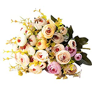 Elibone 10 Heads /1 Bundle Silk Tea Roses Bride Bouquet for Christmas Home Wedding New Year Decoration Fake Plants Artificial Flowers 22