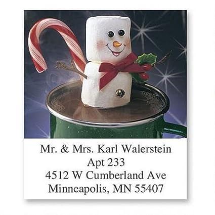 amazon com marshmallow fun christmas square return address labels