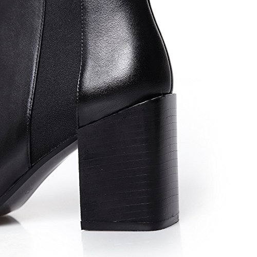 Women's WeiPoot Blend Chunky Toe Closed Solid with Blackfrosted Heels Materials Boot Bn6dnqa