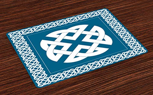 Motif Celtic Knot - Ambesonne Celtic Place Mats Set of 4, Everlasting Knot Motif Representing 4 Elements Earth Fire Water and Air, Washable Fabric Placemats for Dining Room Kitchen Table Decor, Petrol Blue White