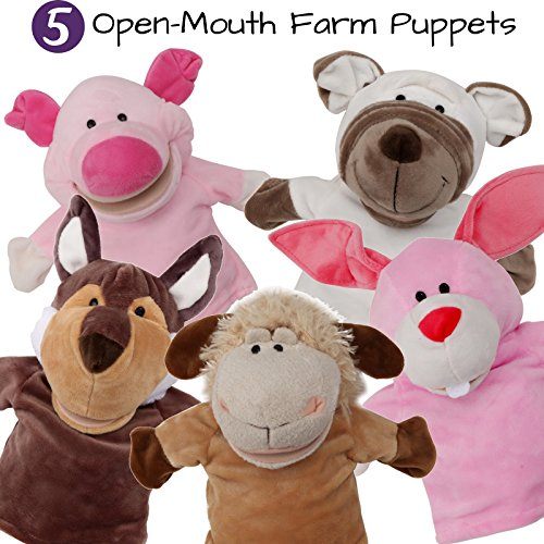 5-Piece Set Animal Hand Puppets with Open Movable Mouth/Zoo, Safari, Farm, Jungle/Rabbit, Sheep, White Dog, Pig and Wolf