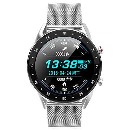 (vmree L7 Women Men Smart Watch Color Screen Blood Pressure Heart Rate Monitor Pedometer Round Face Fitness Activity Tracker for Samsung (Silver Steel))