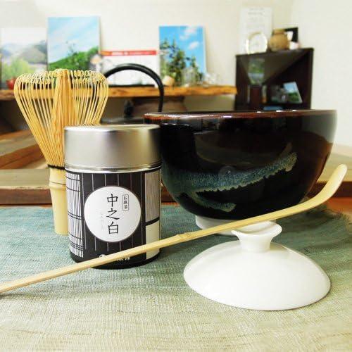 葉桐 (はじめての抹茶)伊勢黒抹茶碗、抹茶中之白20g、茶せん常穂、茶杓