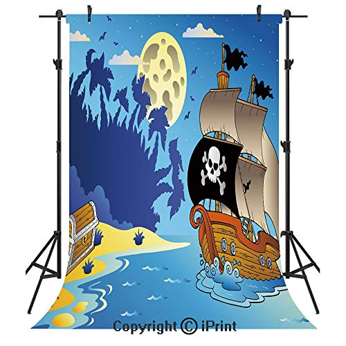 Pirate Photography Backdrops,Buccaneer Adventure Antique Ship Deserted Tropical Island Chest Midnight Filibuster Decorative,Birthday Party Seamless Photo Studio Booth Background Banner 3x5ft,Multicolo
