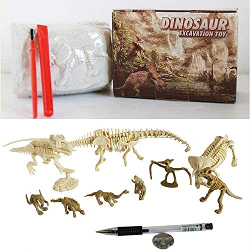 Dinosaur Excavation Kit Dig Out Dinosaur Fossil Prehistoric World Creatures Digging Kit Palaeontology Archaeology Dino Excavation Educational Dino Skeletons DIY STEM Toy for Kids(T-Rex & Triceratops)
