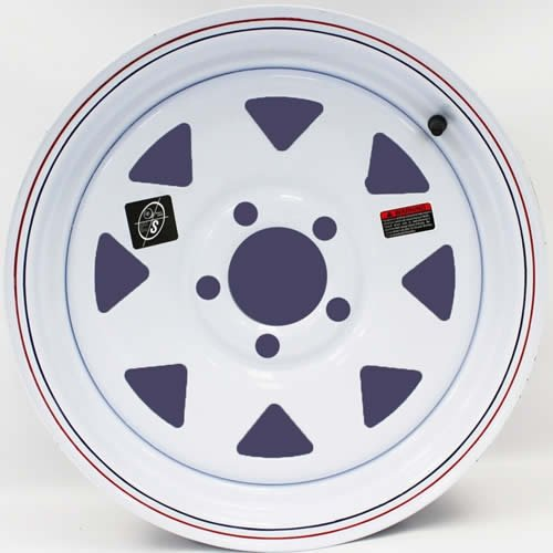 15 x 5 White Spoke Trailer Wheel with Red and Blue Pin Stripe 5 Lug 4.5 Bolt Circle with Center Cap and Valve Stem