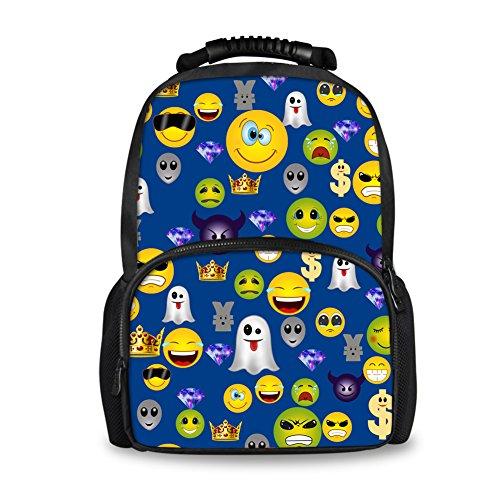 Coloranimal Cute Emoji Pattern Blue Backpack for Women Travel Laptop Felt Backpacks