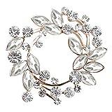 Gyn&Joy Clear Crystal Rhinestone Floral Wreath Pin Brooch BZ005 (Crystal)