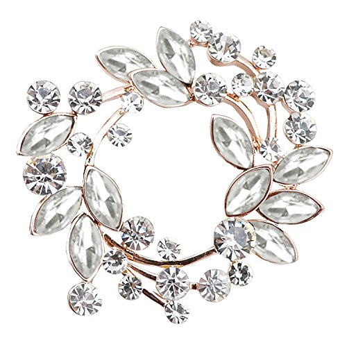 Gyn&Joy Clear Crystal Rhinestone Floral Wreath Pin Brooch BZ005 (Crystal) ()