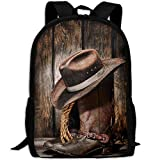 ZQBAAD Cowboy Boots Luxury Print Men And Women's Travel Knapsack