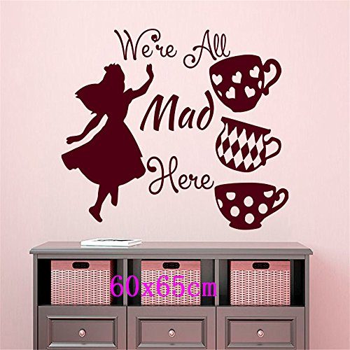 BB.er English Introduction Girl and Cup Wall Stickers Tea House Living Room Bedroom Decoration Stickers, 60x65cm