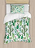 MAIANNE Green Duvet Cover, Mexican Texas Cactus Plants Spikes Cartoon Like Artistic Print, Decorative 4 Piece Bedding Set with 2 Pillowcases, White Pale Pink and Lime Green
