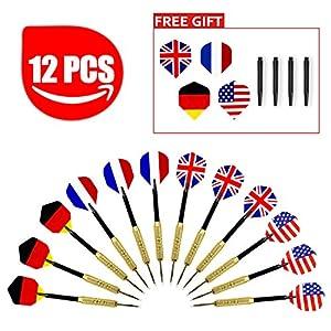 Aodoor (12 Stücke) Dartpfeile, Dartpfeile mit Nationalflagge (4 Arten) Dart...