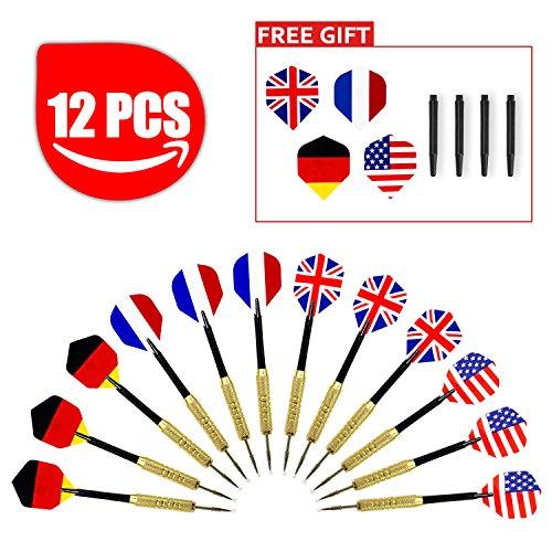 Aodoor (12 Stücke) Dartpfeile, Dartpfeile mit Nationalflagge (4 Arten) Dart Flights Dartpfeil-Spitzen Dart Soft-Dartpfeile, Elektronische Dartscheiben + Zubehör