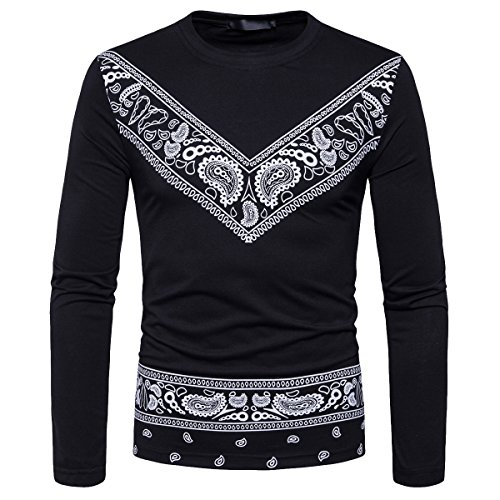 Cottory Men's Bandana Printed Long Sleeve T Shirt Round Neck Urban Wear for sale