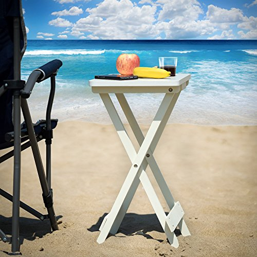 Lifewit Folding Wood TV Tray, Solid Portable Foldable Snack Table Side Table Sofa Table,White by Lifewit (Image #1)