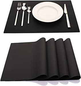 ME.FAN Silicone Placemats [17.7''x12.6''] Heat-Resistant Thicken Non-Slip Tablemats Stain Resistant Anti-Skid Washable Reusable Table Mats Set of 4 (Black)