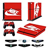 Cheap Skins for PS4 Controller – Decals for Playstation 4 Games – Stickers Cover for PS4 Console Sony Playstation Four Accessories PS4 Faceplate with Dualshock 5 Two Controllers Skin -Red & White