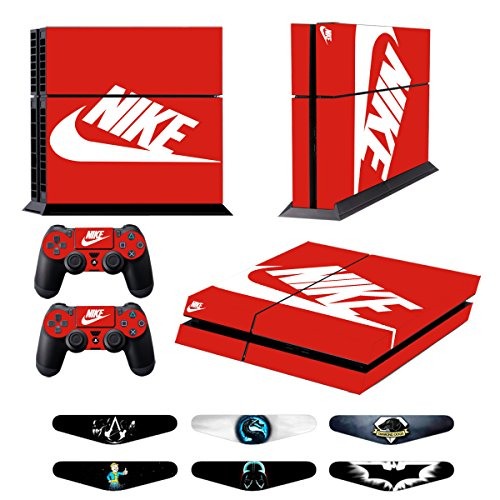 Skins for PS4 Controller - Decals for Playstation 4 Games - Stickers Cover for PS4 Console Sony Playstation Four Accessories PS4 Faceplate with Dualshock 5 Two Controllers Skin -Red & White from Whole_Sale_Deals