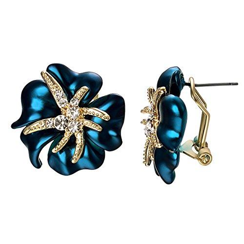 VOGEM Crystal Clip Earrings Blue Starfish 18K Gold Plated Pierced Earrings for Women Costume Jewelry ()