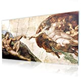 Alonline Art - The Creation of Adam Michelangelo Print On Canvas (100% Cotton, UNFRAMED Unmounted) 70''x31'' - 177x79cm Artwork Wall Art Pictures Oil Paints Wall Decor Canvas for Bedroom Painting