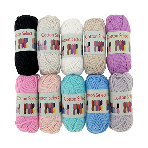 BambooMN Brand - Cotton Select Bonbon Yarns - Assortment 99 (Color A) - 10x 10g Solid Color Mini Ball - 1 Pack