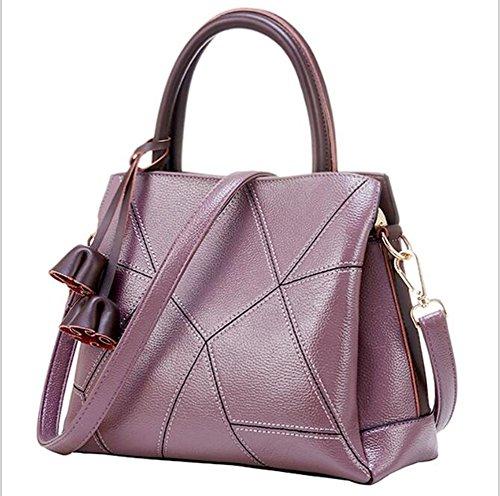 LXYIUN Bolsa De Franjas Cruzadas Bolso De Moda Bolso De Cuero Bolso De Cuero,Gray Purple