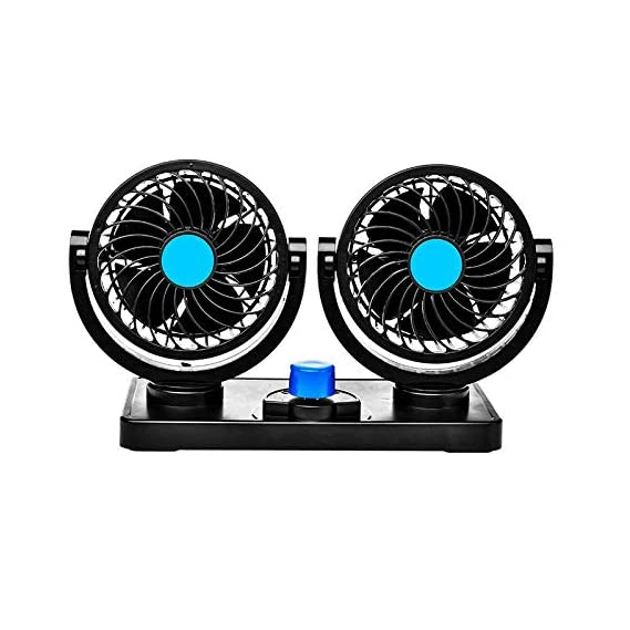 Trest Car Fan 12V 360 Degree Rotatable Dual Head 2 Speed Quiet Strong Dashboard Auto Cooling Air Fan for All Auto