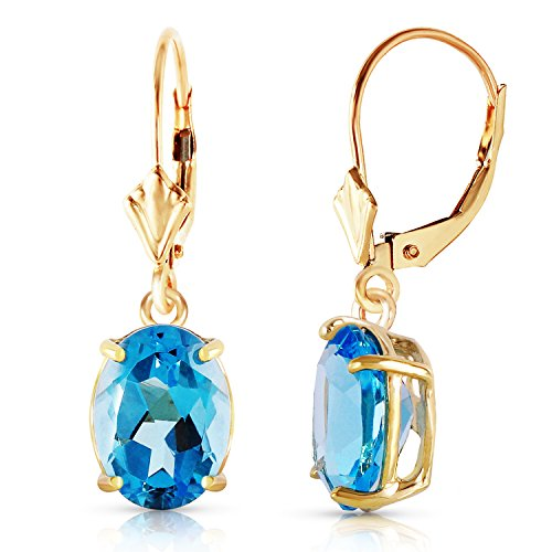 6.25 Carat 14k Solid Gold Dangling Blue Topaz Earrings by Galaxy Gold