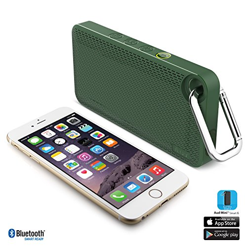 iLuv AudMini Smart 6- Portable Weather Resistant App Enabled FM Radio Bluetooth Speaker w/ Rechargeable Battery & EMERGENCY Panic Button for Apple iPhones, Samsung Galaxy & other Bluetooth Devices
