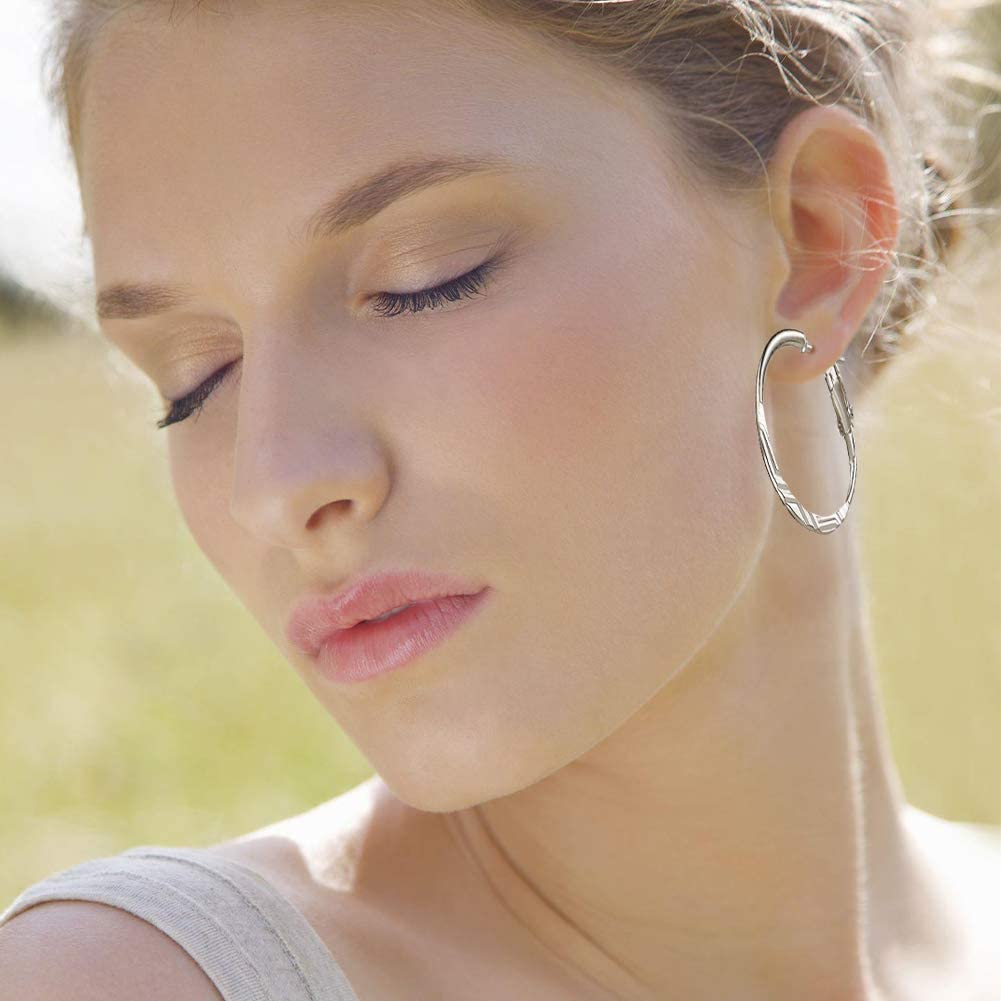 BELONGSCI 9-12 Pairs Fashion Hoop Earrings Set for Women Gold Silver Plated Big and Small Earrings Hoop Jewelry for Girls Dia:2.1-7.9cm