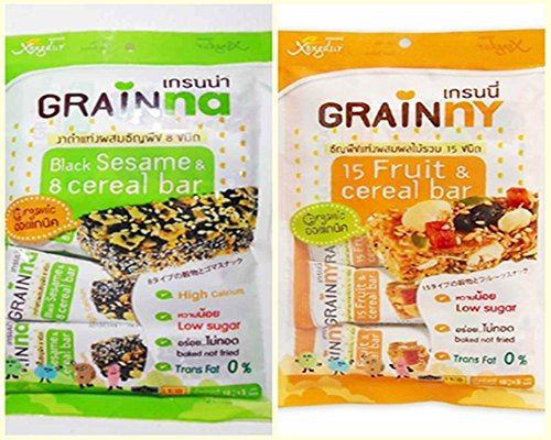 Organic Food Bar Organic Brown Rice (2 Flavors Xongddur Diet Snack 15fruits & Cereal Bar + Black Sesame & 8 Cereal Bar Thailand Vegan Food Halal By Thai Dd)