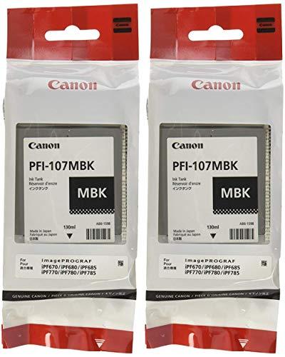 Black Matte Ink - Canon PFI-107MBK Ink Cartridge Matte Black - 2 Packs in Retail Packing