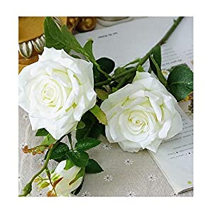 Decorative 3Heads Artificial Rose Branch Silk+Plastic Flores Simulation Rose Flowers for Home Hotel Wedding Decoration Rose,4 12