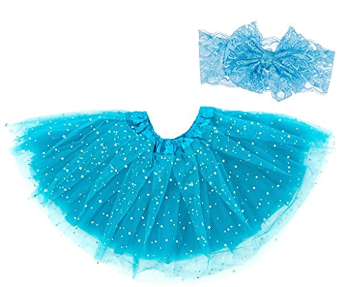 Dancina Baby Sparkle Tulle Skirt w/Lace Bandeu 6-24 Months Turquoise