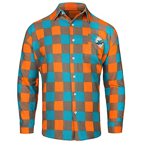 Miami Dolphins Large Check Flannel Shirt - Mens Extra Large