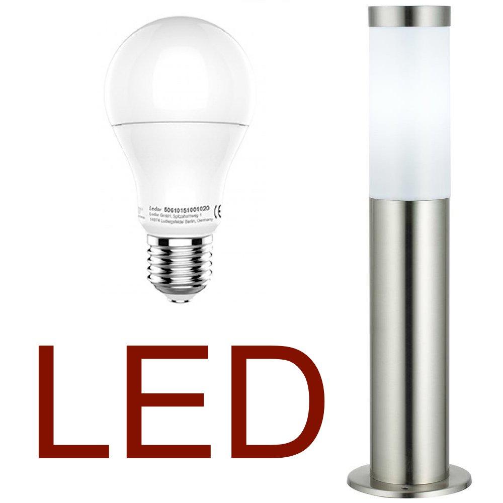 DBLV LED Stand-Außenleuchte mit & LED Leuchtmittel - Edelstahl Außenlampe Hoflampe Gartenlampe Gartenleuchte Balkon Rasen [Energieklasse A+] 12908