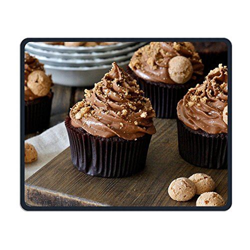 Delicious Chocolate Cup Cake Anti-Slip Personalized Designs Gaming Mouse Pad Black Cloth Rectangle Mousepad Art Natural Rubber Mouse Mat with Stitched Edges 9.811.8 inch (811 Chocolate)