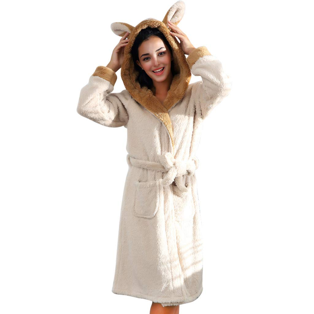 Gallity Womens Fleece Warm Robe,Winter Thicken Coral Fleece Hooded Long Bathrobe, Plush Shawl Night Dressing Robes for Women (S, White) by Gallity Lights