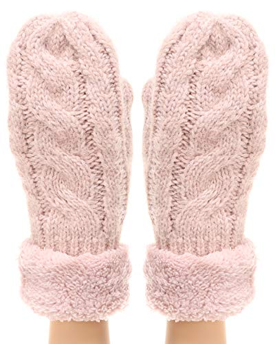 MIRMARU Women's Winter Warm Gloves Classic Thick Cable Knit Mittens with Soft Plush Lining (Cable, Pink)