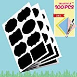 Chalkboard Labels Complete Bundle: 100 Premium Reusable Chalkboard Stickers + Erasable White Chalk Marker + Cleaning Cloth for Decorating Mason Jars, Pantry, Craft Rooms & Closets - Organize Your Home