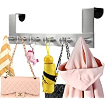 Over The Door Hooks With 6 Rack For Coats Hats Robes Towels Jackets
