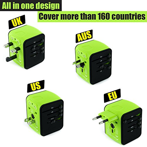 International Travel Adapter Universal Power Adaptor European Plug Converter Worldwide All in One with 2.4A 4 USB Ports and AC Socket US to Europe Plug Adapters for UK USA American EU AUS Asia (Green) by Limechoes (Image #1)