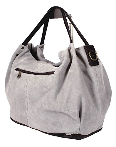 Dark 100 Di Bag Leather Or Montte Light Shoulder Women's Cross Made In Chocolate Jinne Italy Suede Grey Body Real wSg4qgZ