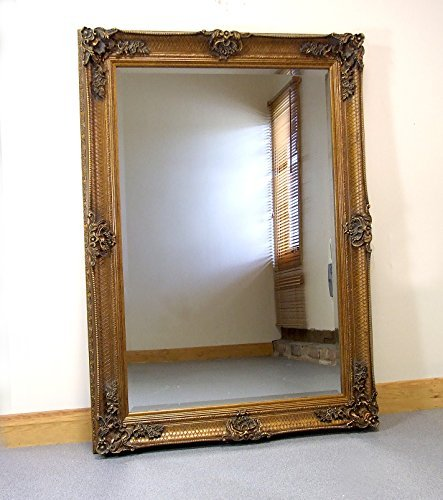 Abbey Large Gold Shabby Chic Antique Style Wall/Over Mantle Mirror - 31in x 43in by Barcelona Trading by Barcelona Trading